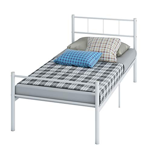 NEW Cheap Strong Single Bed Metal Frame WHITE Quality Express (White)