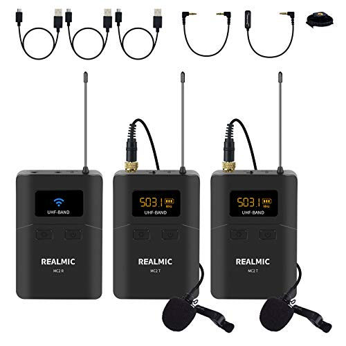 Wireless Lavalier Microphone System with Receiver,Transmitters and Lapel Microphones Compatible with DSLR Cameras