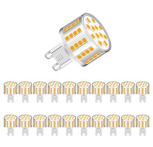 MENTA G9 LED Lampe, 5W 400Lumen LED Leuchtmittel, in Kolbenform mit G9-Sockel, Warmweiß 3000K, Energiesparlampe ersetzt 50W, 360° Abstrahlwinkel, Nicht dimmbar, 2 Jahre Garantie, 20er-Pack