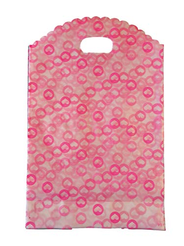 100x qualité Mode Plastique givré/Transparent Coeurs Roses Sacs De Transport pour magasin, marchés, cadeau fête sacs butins 23cm x 18cm