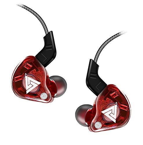QKZ AK6 In-Ear-Kopfhörer 105dB Hi-Res Audio Sport Ohrhörer mit HD Mikrofon In-Line-Control Extra Bass Boost (Rot)
