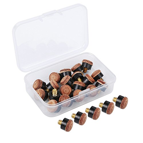 20 Pieces Screw on Tips 10 mm Cue Tips with Plastic Storage Box for Pool Cues and Snooker Brown