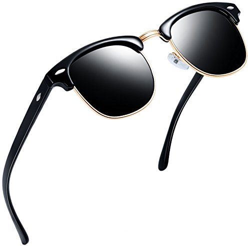 Joopin Semi Rimless Polarized Sunglasses Women Men Retro Brand Sun Glasses with Case (Gloss Black Frame Black Lens)