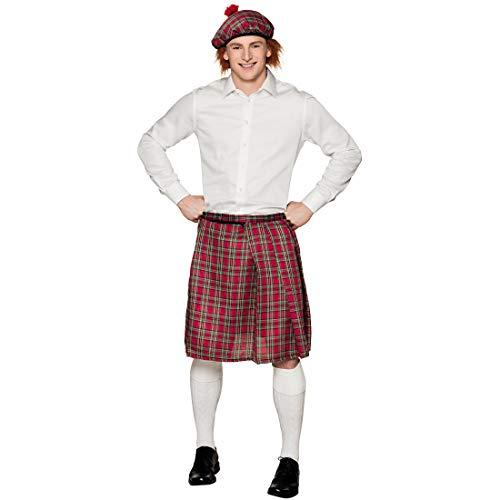 NET TOYS Extravaganter Schottenrock für Damen & Herren - Rot-Grün - Originelle Unisex-Verkleidung Schottischer Kilt - Bestens geeignet für Karneval & Mittelalterfest