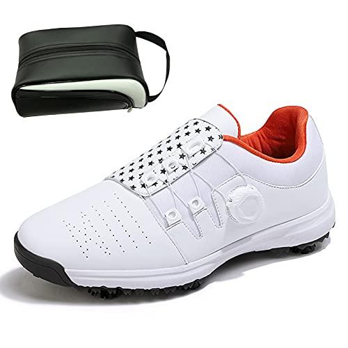 CAMILYIN Zapato de golf, de microfibra, cómodo, cojín de goma, suela de goma antideslizante, transpirable, zapatos de golf suaves, calcetines impermeables incorporados, con bolsa de deporte, 2, 39