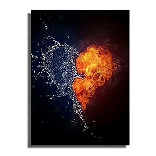 IUYTRF Música abstracta Guitarra Corazón Fuego Agua Cartel de pared Estilo moderno Impresión en lienzo Pintura Arte Pasillo Sala de estar Decoración única Listo para colgar -40X60 CM Marco de madera
