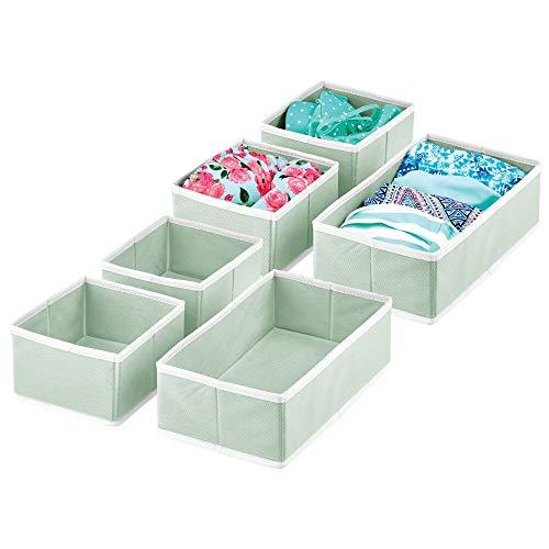 mDesign Juego de 6 Cajas para Guardar Ropa – Organizador de Armario en 2 tamaños para Dormitorio y Cuarto Infantil – Cajas organizadoras de Fibra sintética con diseño Atractivo – Verde Menta y Blanco