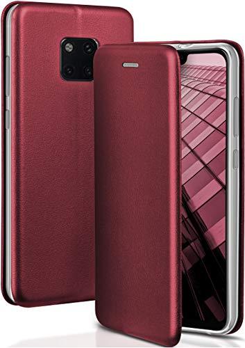 ONEFLOW Handyhülle kompatibel mit Huawei Mate 20 Pro - Hülle klappbar, Handytasche mit Kartenfach, Flip Hülle Call Funktion, Klapphülle in Leder Optik, Weinrot