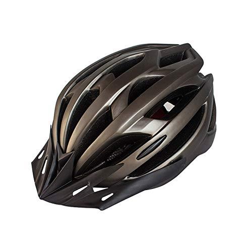 Casco de Bicicleta para Adulto Casco Ciclismo Ajustable Protección de Seguridad con Visera Desmontable y Luz LED Casco Bici Ligero Protector Unisex para MTB Carretera (Marrón, 54-61 cm)