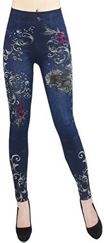 dy_mode Leggings Damen High Waist Hose Jeans Optik Jeggings ideal für Frühjahr Sommer - OneSize Gr.36-42 - JL068 (JL0075-OneSize Gr.36-42)