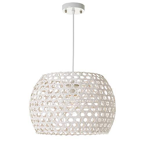 Lámpara de techo de rejilla shabby chic de bambú y metal blanca, de ø 35x24 cm - LOLAhome