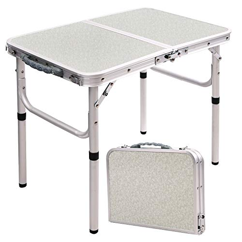 RedSwing Small Folding Table Adjustable Height 23.6'x15.7'x10.2'/19', Lightweight Aluminum Camping Table, 2 Feet