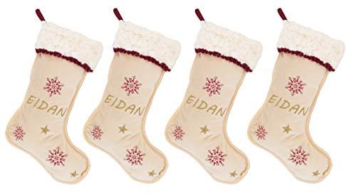 Media o Bota de Navidad Personalizado con el Nombre. Modelo Premium. (Pack 4 Calcetines)