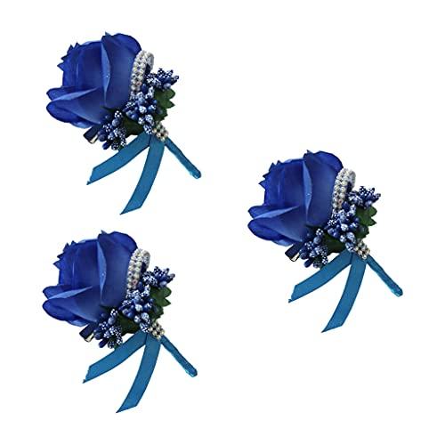 SHURROW 3 Unids Rosa Artificial Boutonnieres Novio Flor Bayas Falsas Rhinestone Ramillete Broche Pin 12