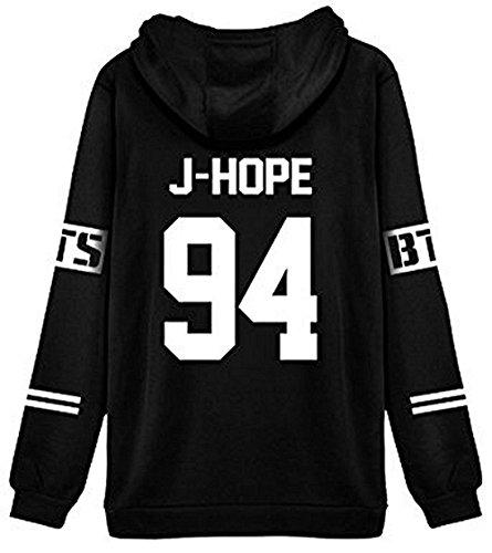 ShallGood Femme Automne Mode Tops Fans Sweats à Capuche à Manches Longues Varsity Rayé Encapuchonné Sweatshirt Décontractée Hooded Chemisiers Tops J-HOPE-94 Blanc FR 34