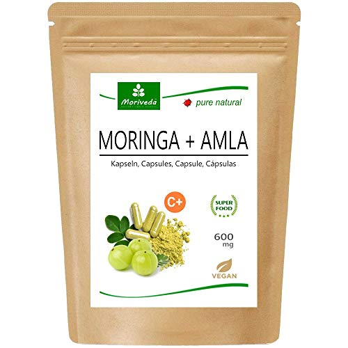 MoriVeda Moringa + Amla 120 Cápsulas, alta dosis, bomba vitamínica con bayas de amla para el sistema inmunológico y la digestión, Ayurveda, Vegano y sin gluten, 1x120 cápsulas
