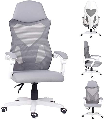 SCYMYBH Sillas de Oficina, Que compite con Silla de Juego Ajustable del Respaldo y Altura sillas reclinables giratoria Adecuada for la Malla (Color : Gray)
