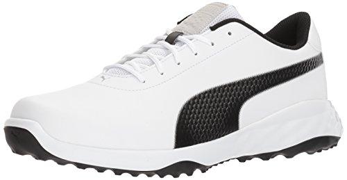 PUMA Golf Men's Grip Fusion Classic Golf Shoe, White/Black, 9 Medium US
