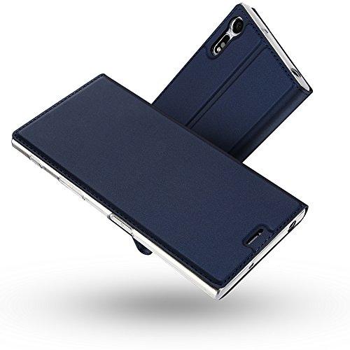 Radoo Sony Xperia XZ Hülle, Premium PU Leder Handyhülle Brieftasche-Stil Magnetisch Folio Flip Klapphülle Etui Brieftasche Hülle Schutzhülle Tasche Hülle Cover für Sony Xperia XZ (Blau)