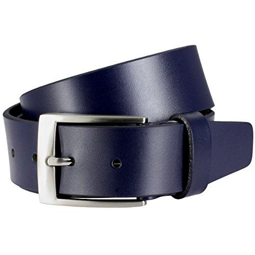 Lindenmann Mens leather belt/Mens belt, full grain leather belt, navy, Größe/Size:95, Farbe/Color:blu