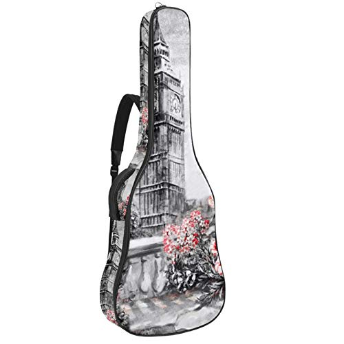 Funda para guitarra reforzada con esponja gruesa y acolchado extra para guitarra, soporte para cuello, soporte trasero, soporte para guitarra acústica clásica, torre de acuarela gris
