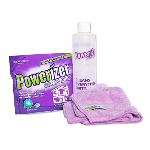 Powerizer Complete Starter Kit | 1 lb Cleaning Concentrate Powder, 2 Microfiber Cloth, and 1 Squirt Bottle | Dishwasher and Laundry Detergent, and Multipurpose Cleaner | Bundles Cleaning Supplies