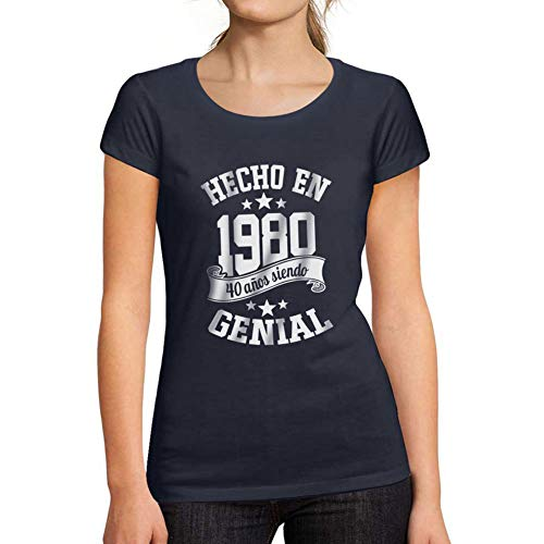Ultrabasic® Camiseta de Manga Corta de Mujer Hecho en 1980 Cumpleaños de 41 años 40 años de ser Impresionante Camiseta Marine francés