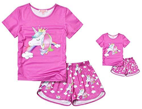 Red Unicorn Pajama Sets Matching 18-inch Dolls & Girls 8 9 Pjs Night Shirts