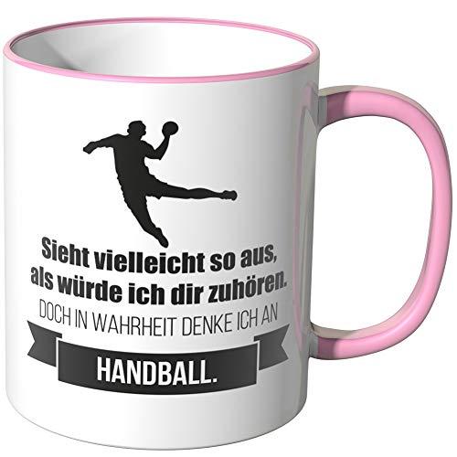 JUNIWORDS Tasse - Ich denke an Handball - Wähle Motiv & Farbe - Rosa