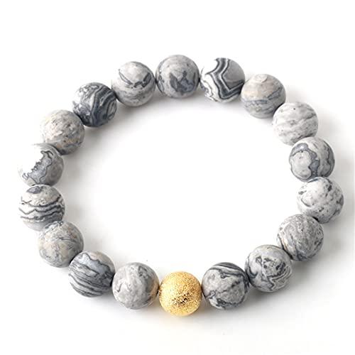 Piedra natural rosa jaspe redondo perlas par pulsera longitud 19 cm para hombres mujeres 6/8/10mm oro plata perlas mate mapa 1 6mm perlas