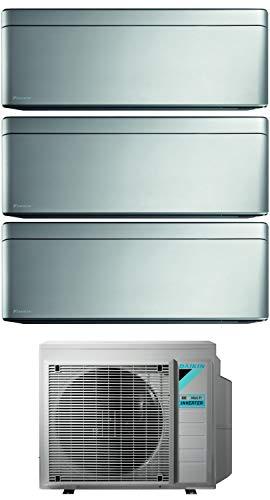 Climatizzatore Trial Split 9000 + 9000 + 12000 Btu, Inverter, Classe A+++/A+++ Gas R32 Wi-Fi colore Silver Stylish 3MXM52N+FTXA25/25/35AS