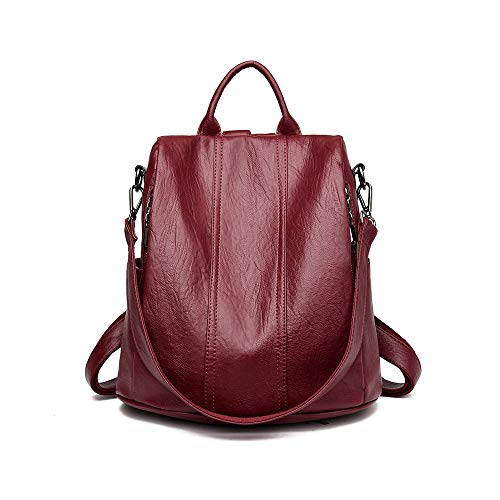 ZCVB Women Soft Waterproof anti-theft Leather Backpacks Bags For Girls Female Shoulder Casual Bag Multifunction Traveling Backpack,Red,One Size
