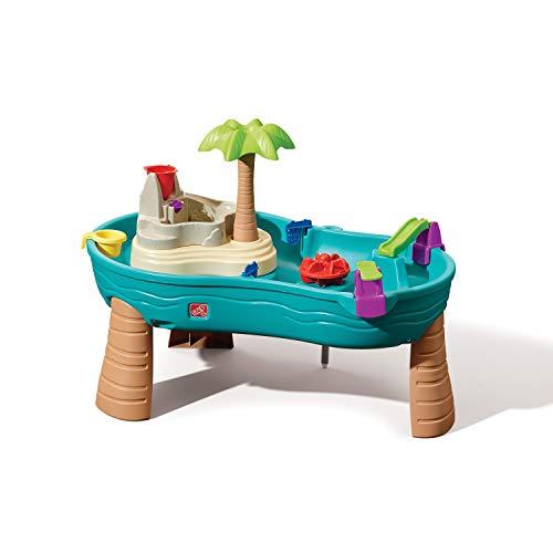 Step2 Splish Splash Wasserspieltisch Jungle | Großer Wassertisch mit 10-teiligem Zubehörset | Garten Wasser Spieltisch für Kinder in Blau