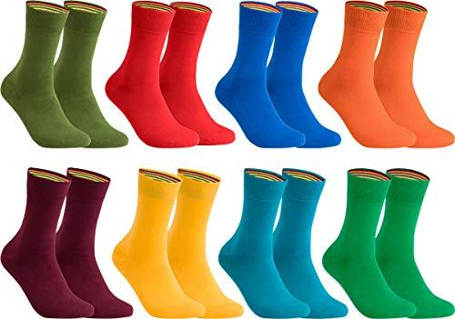 gigando – Socken Herren Baumwolle Uni Farben 4er oder 8er Pack in Premiumqualität – Strümpfe für Anzug, Business und Freizeit - olive, orange, bordeaux, blau, rot, gelb, petrol Gr. 39-42