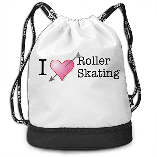engzhoushi Mochila de Cuerda,Bolsa de Cuerdas I Love Roller Skating Print Lightweight Drawstring Bags Gym Eco-Friendly Luggage Drawstring Backpack Shoulder Bags