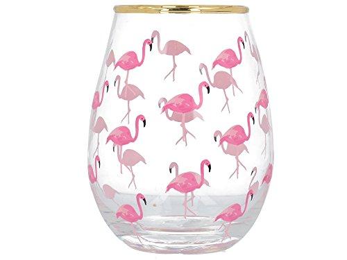 "Creative Tops \""Ava & I\"" Dekoriertes Weinglas ohne Standfuß, Motiv \""Flamingo\"", 590 ml (21 fl oz)"