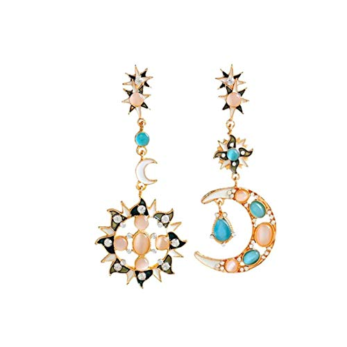 1 Pair Moon Sun Zinc Alloy Earrings Romantic Attractive Special Opal Sun and Moon Metal Earrings Drop Earring for Woman Women Beauty