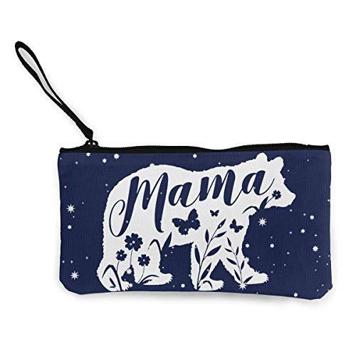 BHGYT Mama Bär Blumentasche Geldbörse Leinwand Reißverschluss Tasche Brieftasche für die Arbeit