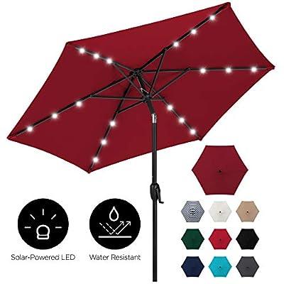Best Choice Products 7.5ft Outdoor Solar Patio Umbrella for Deck, Pool w/Tilt, Crank, LED Lights - Burgundy