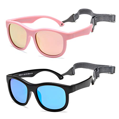 COASION Paquete de 2 gafas de sol polarizadas flexibles para bebé con correa ajustable para recién nacidos de 0 a 24 meses