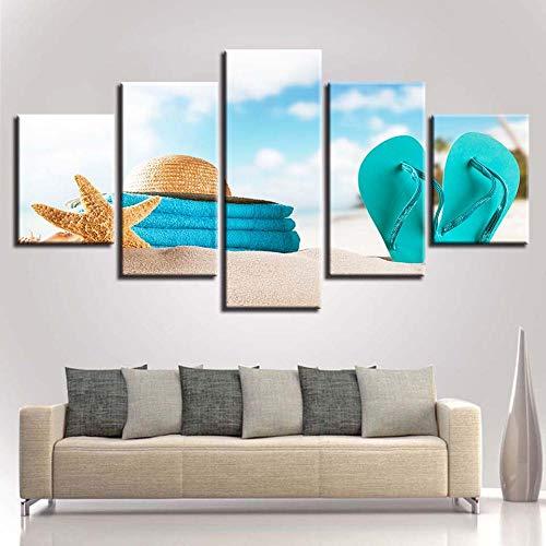 yhsndy HD Druck Kunst Gemälde Dekor Zimmer Wand 5 Stücke Flip-Flops Sea Star Hut Strand Landschaft Leinwand Poster 40X60cmx2 40X80cmX2 40x100cmX1 Rahmenlos