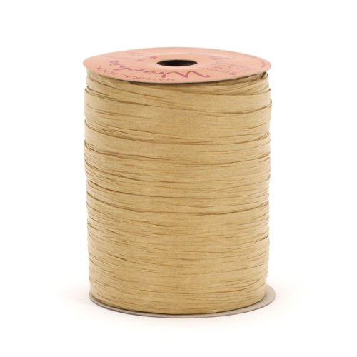 Berwick Offray Matte Light Brown Raffia Ribbon, ¼'' Wide, 100 Yards