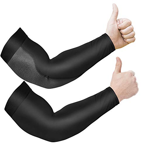 Arm Sleeves for Men and Women, 2pc Anti-Slip Compression Sleeves for Arms Men, UPF 50 UV Sun Protector Arm Sleeve for Women, Tattoo Sleeve Covers, Cooling Clothing Sleeves to Cover Arms