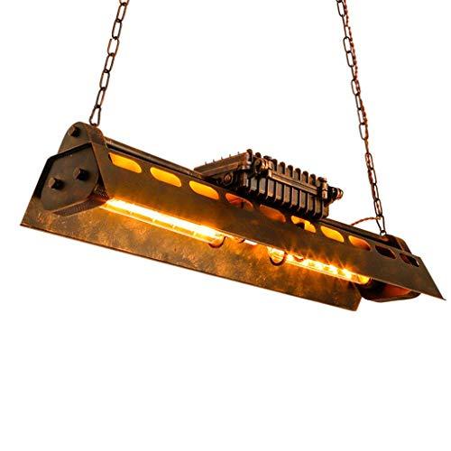 FCHMY Lámpara de Techo Steampunk Industrial Pesada, lámpara de Techo rústica de Metal Tipo Loft, luz Rectangular Edison Durante la luz para Cocina, Comedor, Restaurante, Bar, Colgante, Bronce CLAR