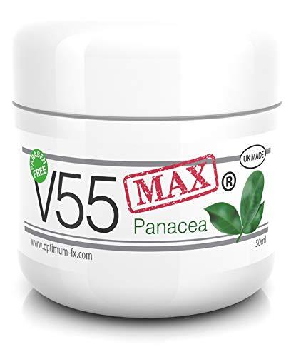 V55 MAX Panacea Natürliche Behandlung Creme Pickel Mitesser Talgkontrolle Milien Rötungen Fettige Problemhaut Antibakterielle Effekte wie durch Retinol Geeignet Sicher für alle die zu Akne Neigen 50g