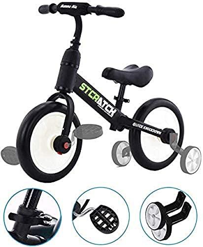 YAYY Bicicleta de Equilibrio de automóviles para 1-5 años de Edad, niños y niñas, 4 en 1, Triciclo para niños con Ruedas de Entrenamiento y Pedales (Color: Blanco) Upgrade