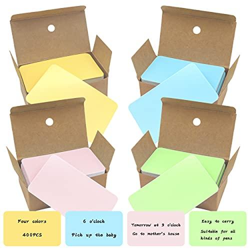 400 Pcs Tarjetas De Papel En Blanco Fácil De Cargar 4 Colores Tarjetas De Mensaje Para Familia Colegio Oficina Diy Regalo