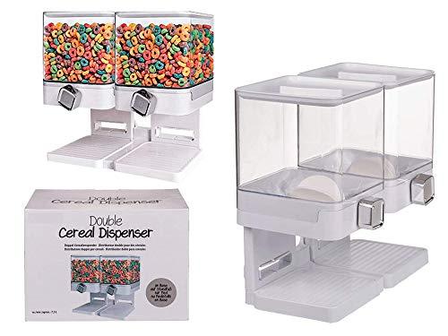 Invero Dispensador de cereales y alimentos secos de plástico transparente y cuadrado de 7,5 L, mantiene los alimentos frescos, ideal para control de porciones, color blanco