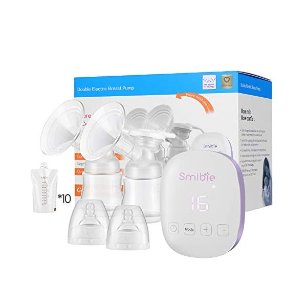 Smibie Double Electric Breast Pump, Rechargeable Portable Milk Pump, BPA-Free, 4 Modes & 16 Levels Suction, Pain-Free Feeding Pump, USB Charging, Quiet, Anti-Backflow Hand-Free Smart Breast Pump