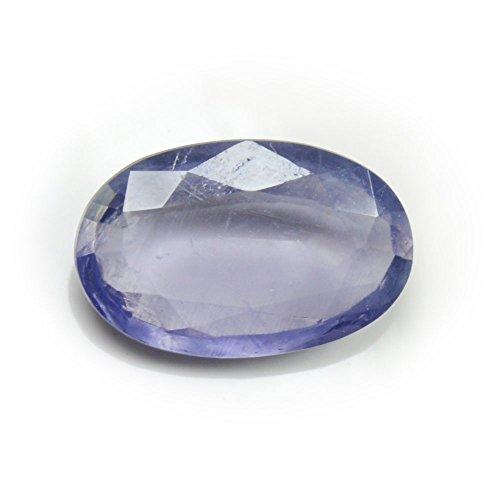 CaratYogi Piedra preciosa natural de iolita de 3,5 quilates genuina suelta para hacer joyas con forma ovalada de calidad AAA.
